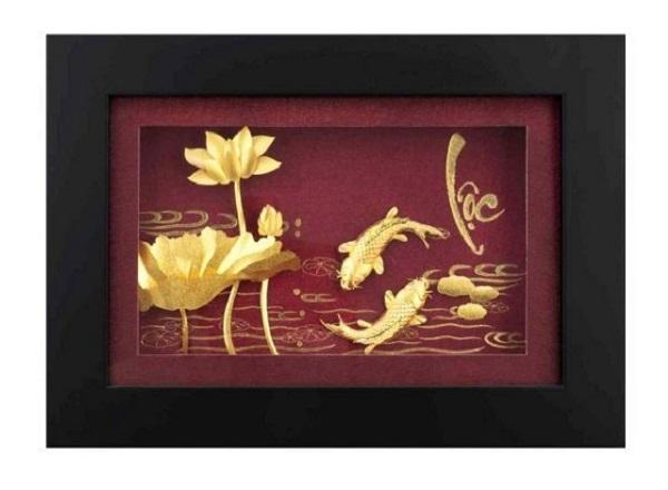 Quà tặng sếp ý nghĩa với tranh mạ vàng hình hoa sen - song ngư